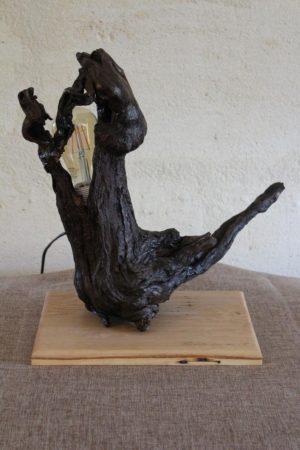 Lampe bois en cep de vigne, socle en chêne - Made in France